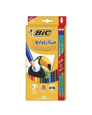 BIC COLORES  EVOLUTION CJ 12 PZAS + 2 LAPICES GRATIS