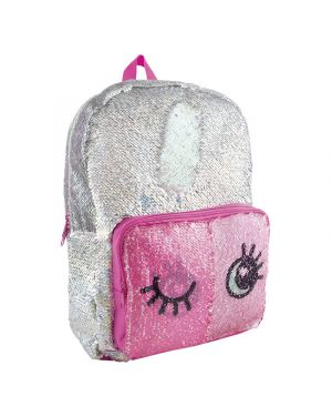 YOYO Y TOYS MOCHILA MAGIC SEQUIN DE LENTEJUELA LUNCH/PLATA